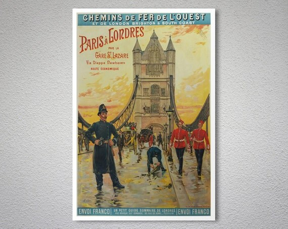 Paris a londres par la gare st lazare vintage travel poster - Boutique vintage londres ...