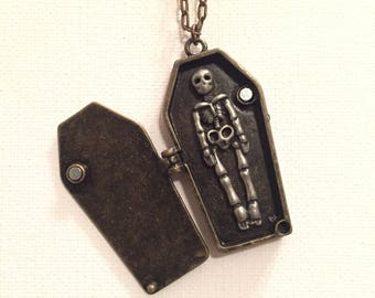 Coffin and Skeleton Charm Necklace