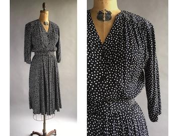1980's Organic Dot Print Dress