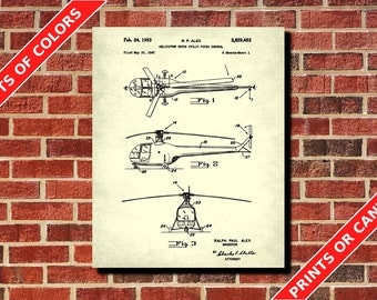 Helicopter Patent Print, Chopper Poster, Pilot Gift, Man Cave Wall Art, Aviation Blueprint, Flying Poster