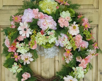 Peach, pink, and lime Spring and Summer Cottage Wreath