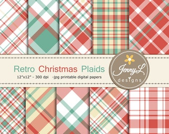Retro Christmas Plaids Digital Papers, Vinatge Christmas, Holiday red blue Digital ScrapbookingPaper for scrapbooking, planner, invitation