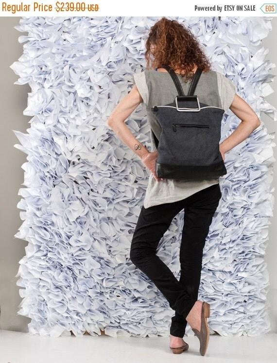 Black Leather Backpack / Leather Like Tote Bag / Purse / Unisex Laptop Bag / School Bag / Handbag / Shoulder Bag / Student Bag - Nobu