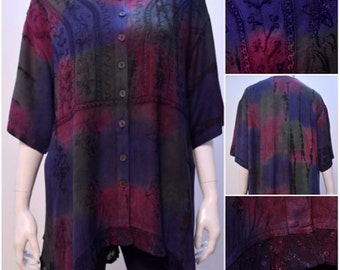 Plus Size Tie Dye Floral Embroidered Tunic Top Multi Freesize 8 10 12 14 16 18 20 22 24 26 28