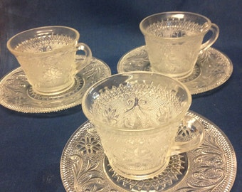 Sandwich Glass Cups and Saucers - 3 Sets