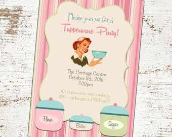 SALE 25% OFF Custom Vintage Tupperware Party Invitation