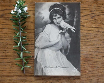 Vintage Postcard ~ Girl with Dove ~ Photographic Ephemera Art Supply Photo Styling