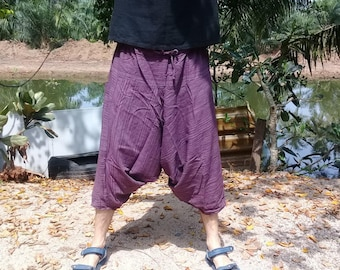 Mens Baggy Pants - Short Harem Pants  - Good Quality Cotton - Made to Fade. Purple stripe.