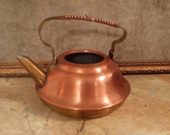 vintage, DUTCH copper and brass kettle, teapot, missing lid, tea, kitchen, home decor, accessories