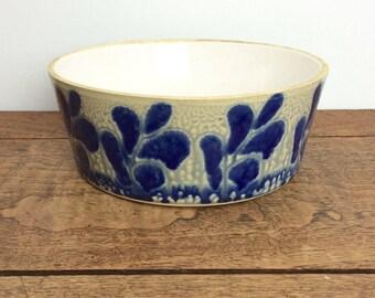 Vintage blue stoneware serving dish or salad bowl.
