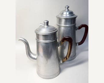 2 Large Vintage French Aluminum Coffee Pots - 40's