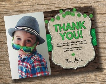 PRINTABLE Chalkboard First Birthday Thanks St. Patrick's Day Birthday, St. Patrick's Chalkboard Birthday Party Thank You Card
