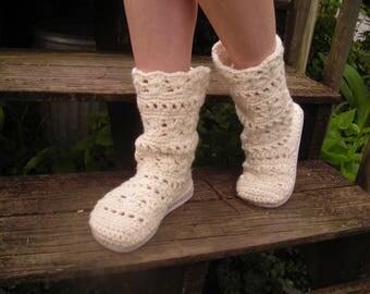 Crocheted boots, BoHo Boots, Flip Flop Beach Boots, Crocheted flip flop shoes, Festival Boots