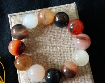 Natural black and white agate beaded bracelet, 16mm transparent chalcedony bracelet good luck