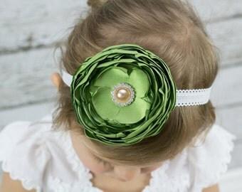 St. Patrick's Day Headband - St. Patrick's Day Toddler Headband - Green Flower Headband - St. Paddy's Day Headband - Green - Hair Accessory