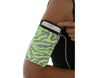 Cell Phone Running Armband Pouch Sleeve Fitness Comfortable iPhone Smartphone iPod  BRIGHT GREEN ZEBRA