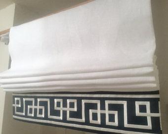 Custom Flat Roman Shade in Linen