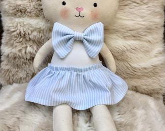 Bunny with blue dress-rag doll-soft doll