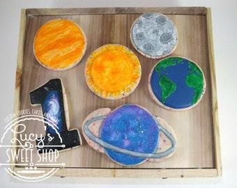 Galaxy Cookies - Cosmic Cookies - Planet Cookies -Space Cookies - First Birthday Cookies