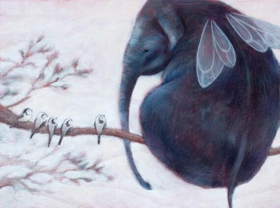 Elephant Illustration Print Flying Elephant Home Decor
