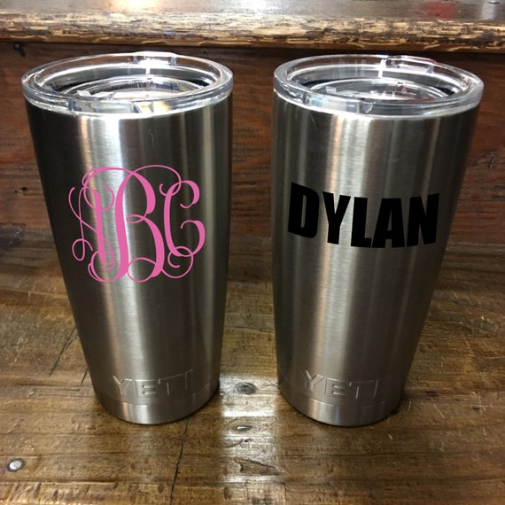 Custom Monogram/Sorority/Fraternity YETI Rambler 20 oz. Stainless Steel Vacuum Insulated Tumbler