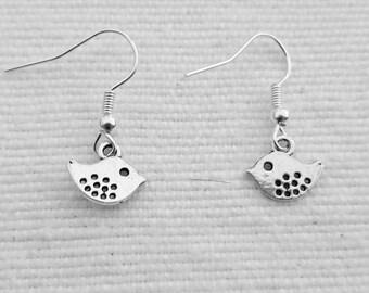 Sweet little silver bird earrings