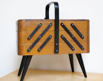 Mid Century Modern, Sewing Box, Articulating, Organizer, Wood, 1960s