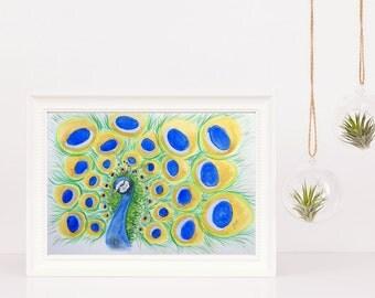 Original watercolor  Colorful peacock illustration Original art Wall decor