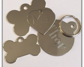 Pet ID Tag Cat Dog - FREE SHIPPING (Canada) engraved free -Chromed Brass - Shipped from Canada