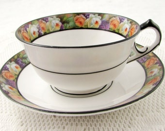 Melba Tea Cup and Saucer with Rose Border and Black Trim, Vintage Bone China