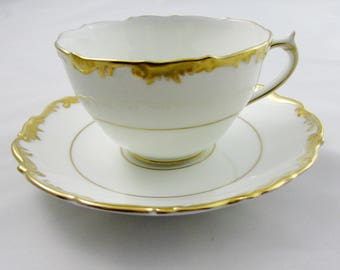 "Coalport ""Admiral"" Tea Cup and Saucer, White and Gold, English Bone China"