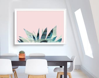 Large Abstract painting, Printable Abstract Art, Digital Downloads, Pink and Mint, modern wall art, hand painted acrylic print, A0 & A1 size