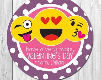 Emoji Valentine Day stickers, Classroom Valentine's Personalized Gift Stickers, Emoji Heart, Emoji Kiss, Valentine Day Favors