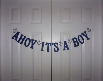 AHOY IT'S A BOY Letter Banner - Navy Blue & Medium Grey Cardstock Paper - Anchor Garand Sign Hanging Mantel Nautical Baby Shower Decoration