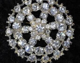 1930s Diamante Wheel Brooch