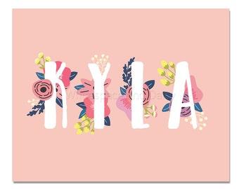 Kyla Baby Name Wall Art Kyla Baby Name Sign Kyla Party Printable Kyla Party Decorations Kyla Art