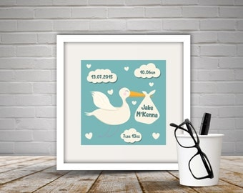 Personalised Baby Stork Print with Frame, Newborn gift, New Baby Gift, Stork, Nursery Decor, Nursery, Hearts, Clouds, Free P&P