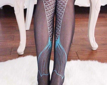 Mermaid Tail Stockings / Tights / Pantyhose in Silver and Black