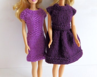 READY TO SHIP Knitted Barbie Clothes, Two barbie looks included, Coral Reef Barbie Dress, Purple Rain barbie dress