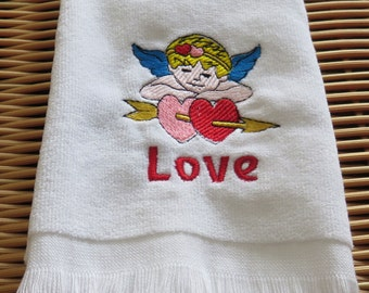Valentine's Day Fingertip Guest Towel Embroidered Handmade