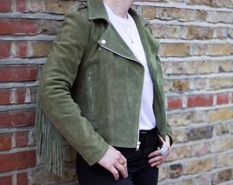 Tassel Biker Jacket, Suede Festival Jacket with Fringe detail, Cropped Leather Biker Jacket - KHAKI