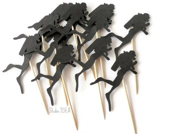 Black Double-sided Scuba Diver Toppers, Food picks, Cuppcake Toppers - or Choose Your Colors
