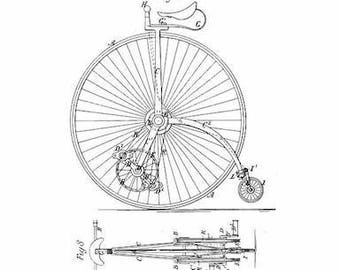 Physical Print Velocipede Blueprint wall art decor world globe gift art prints gift travel bicycle tall bicycle diagram