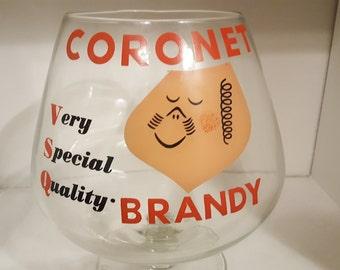 Coronet Brandy Very Special Quality Oversized Goblet Snifter Tip Jar Vintage Bar Advertising