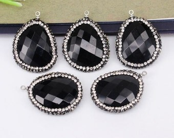 5-10pcs Black Agate Druzy Pendant Beads,With Crystal Paved Beads,Nature Druzy Gemstone Pendant Beads For Jewelry Making
