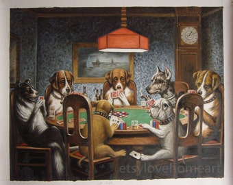 High quality handpainted  a friend in need by Cassius Marcellus Coolidge dogs playing poker painting reproduction for decor or friend gift