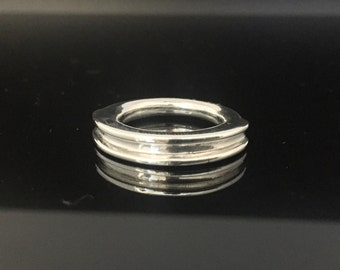 Contemporary Ridge Ring // 925 Sterling Silver // Hand Cast // Solid Silver