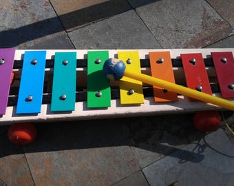 1964 Fisher Price Xylophone Pull-A-Tune Wooden Pull Toy