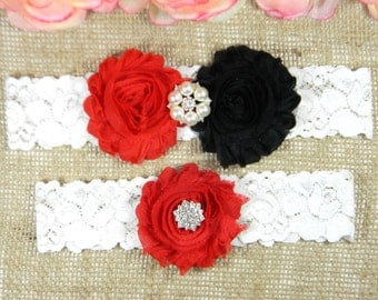 Wedding Garter Set Bridal Red And Black