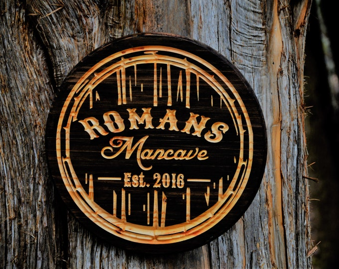 Personalized Man Cave Bar Sign Custom Bar Man Cave Sign Barrel Decor Beer Barrel Home Brewing Fathers Guy Gift Tavern Pub Personalized Bar